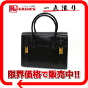 27 HERMES drug handbag boxcalf black gold metal fittings old P 刻 》 for 《