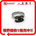 CHANEL 09P CC rhinestone ring 14 black X chromeplating 》 for 《