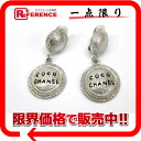 CHANEL logo earrings silver 》 02P02Aug14 for 《