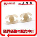 "Chanel 01 p CC earrings clear light beige x gold ""response.""-02P02Aug14"
