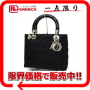 Dior lady dior nylon handbag black silver metal fittings 》 for 《