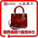 "Dior Lady Dior enamel 2WAY mini handbag red silver metal ""response."""