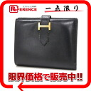 "Hermes ""Bernd compact"" fold wallet swift black gold bracket H engraved ""response."""