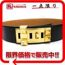 70 エルメスコリエドシアンメドールベルト boxcalf black gold metal fittings Z 刻 》 for 《