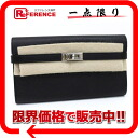 HERMES Kelly wallet long two fold long wallet Epson black silver metal fittings M 刻 》 for 《