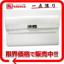 "Hermes Kelly wallet 2 fold wallet Epson white silver bracket L ticking ""response."""
