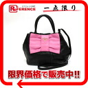 Prada Ribbon Motif 2-WAY handbag leather black s correspondence.""