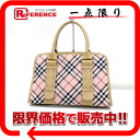Burberry blue label check canvas X leather handbag pink X beige 》 for 《