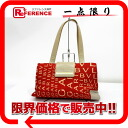 "Bulgari Mania Nylon canvas x leather handbags red x beige ""response."""
