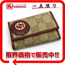 190338 《 correspondence 》 of six gucci TROPHY( trophy) GG key case beige X Bordeaux origin