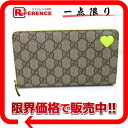 "Gucci GG Supreme neon heart zip around wallet beige × unused neon yellow 323224 ""enabled."""