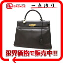 "Hermes handbags ""Kelly 35"" in sewing with shoulder strap クシュベル chocolate gold bracket A ticking ""response."""