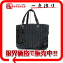 Kan Chanel Bonn line tweed tote bag blue system X black system 》 for 《