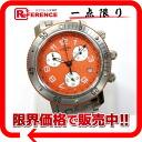 에르메스 클리퍼 다이 버 크로 노 그래프 남성 시계 SS 쿼 츠 오렌지 숫자판 CL2.916 《 대응 》