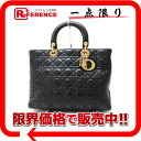 Dior lady dior lambskin large handbag black X gold metal fittings 》 for 《