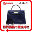 "Boxcalf blue gold metal fittings X 刻 》 with the HERMES handbag ""Kelly 32 sewing shoulder strap out of"" for 《"