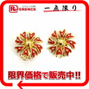 Nina Ricci flower earrings gold X red 》 02P02Aug14 for 《