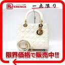 Dior lady dior enamel 2WAY handbag ivory gold metal fittings 》 for 《