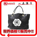"Chanel Camellia calfskin large tote bag black x white ""support."""