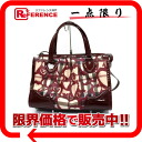 "バーバリーノバ heart 2-WAY Boston bag PVC x enamel ""response."""