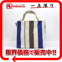 HERMES canvas Zulu bag beach bag ivory X blue X gray system-free 》 for 《
