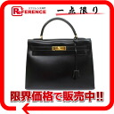 "Hermes handbags ""Kelly 32"" outside seam Bock scarf black gold metal old S ticking? s support."""