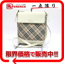 Burberry checked pattern slant credit shoulder bag beige X white 》 02P02Aug14 for 《