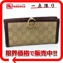 190389 《 correspondence 》 02P02Aug14 of gucci G hook GG two fold long wallet beige X Brown line