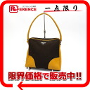 PRADA logo plate semi-shoulder bag brown X yellow 》 02P02Aug14 for 《