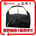 "Gianni Versace enamel × 02P02Aug14 vanity bag leather black s correspondence."""