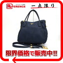 PRADA 2WAY tote bag leather blue 》 for 《