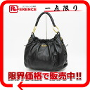 PRADA leather gathers one shoulder bag black equipment 》 for 《