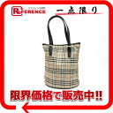 Burberry blue label checked pattern bucket type tote bag beige X black 》 for 《