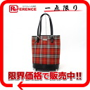 Burberry blue label checked pattern bucket type tote bag red X black 》 for 《