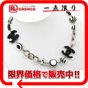 CHANEL CC ball horizontal stripe pendant necklace black / white / silver 》 for 《