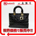 Dior lady dior patent leather large handbag black X gold metal fittings 》 for 《
