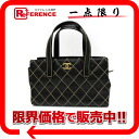CHANEL leather Wilde stitch tote bag black 》 for 《