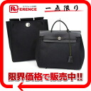 "Hermes ""airbag ad"" 2 WAY backpack refill bag with toil Office Yale black matte silver fittings G ticking? s support."""