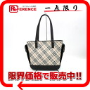 "Burberry Nova check tote bag canvas x leather beige × black ""response."""