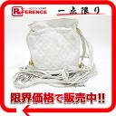 "Chanel lambskin quilted DrawString shoulder bag white ""support."""