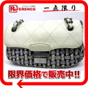 """Chanel Tweed × leather chain shoulder bag White x blue """"response."""""""