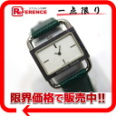 "Hermes quartz SS lizard belt Womens watch green ""response."""