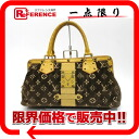 "Louis Vuitton Monogram trompe l'oeil ""angenieux"" Velvet x alligator handbag Marron M92712 ""enabled."""