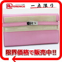 "Hermes Kelly wallet long 2 fold wallet Epson Pink Silver bracket O ever-changing beauty products ""enabled."""