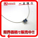 "Hermes cage ash H cube Pendant Necklace blue x Silver ""support."""