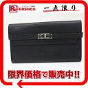 "Hermes Kelly wallet 2 fold wallet Epson black silver metal fittings M ticking ""response."""