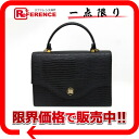 "Lizard embossed faux leather bag Black 2-WAY ""response."""