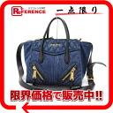 "Miu Miu DENIM BIKER (denim biker) 2-WAY handbag blue RN1031 ""enabled."""