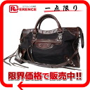 "Balenciaga spring 2007 summer bag ""the city"" textile dark brown x black 115748"