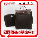 "Hermes ""airbag ad"" 2 WAY backpack refill bag with toil Office ALE dark brown gold bracket F ticking ""response."""